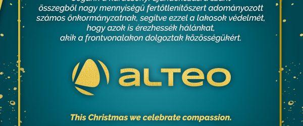 4,2 millió forint értékű fertőtlenítőszert adományozott az ALTEO a Covid elleni harc jegyében.